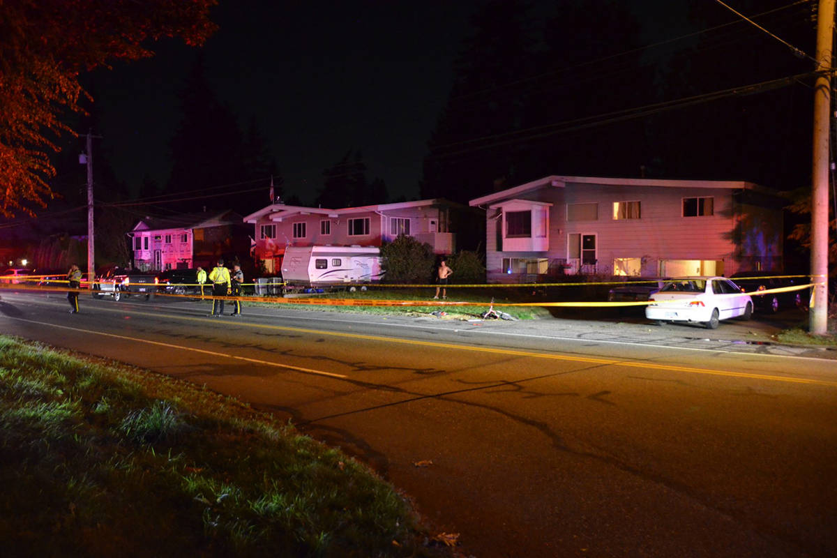 RCMP were called to the 20400-block of 42nd Avenue in Brookswood around 8:30 p.m. Tuesday, Sept. 8, 2020 for a report of cyclist struck by a pickup truck. (Curtis Kreklau/Special to Langley Advance Times)