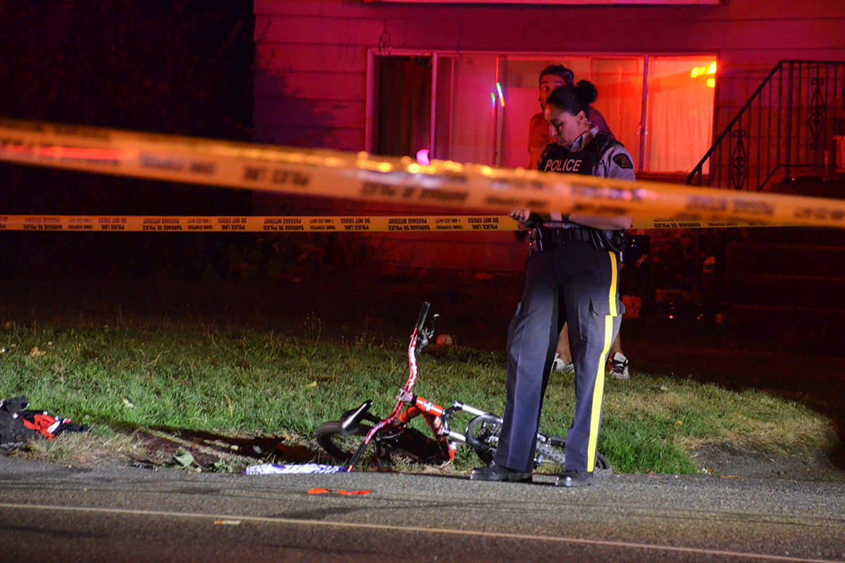 An accident on 42nd Avenue in Brookswood Tuesday evening sent a cyclist to hospital. He's since undergone 12 hours of brain surgery. (Curtis Kreklau/South Fraser News Service)