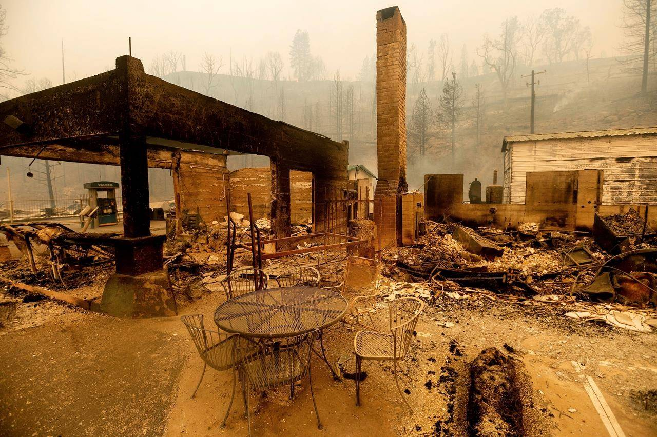 FILE - In this Sept. 8, 2020, file photo, a table stands outside the destroyed Cressman's General Store after the Creek Fire burned through Fresno County, Calif. Experts agree that more extreme fire behavior is driven by drought and worsening conditions that they attribute to climate change. Among the most concerning developments is that wildfires can spread far more quickly, leaving less time for warnings or evacuations. (AP Photo/Noah Berger, File)