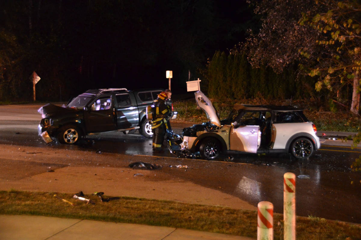 Occupants of both vehicles walked away with no reported injuries after a head-on collision in the 19900-block of 80th Avenue in Langley on Sept. 9, 2020. (Curtis Kreklau/Special to Langley Advance Times)