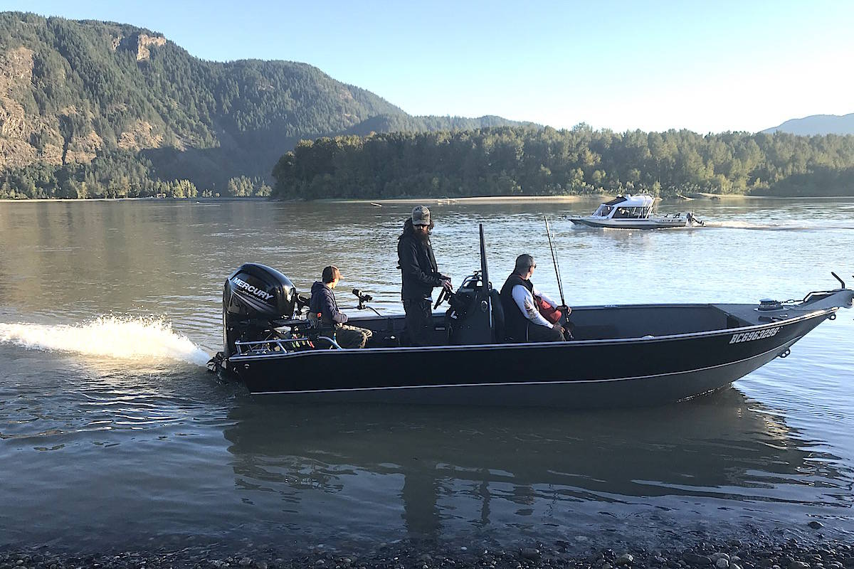 More than 50 people participated in the bar-fishing demonstration fishery on Sept. 9, 2020 on the gravel bars of the Fraser River near Chilliwack. DFO officers ticketed six people and seized four rods. (Jennifer Feinberg/ Chilliwack Progress)