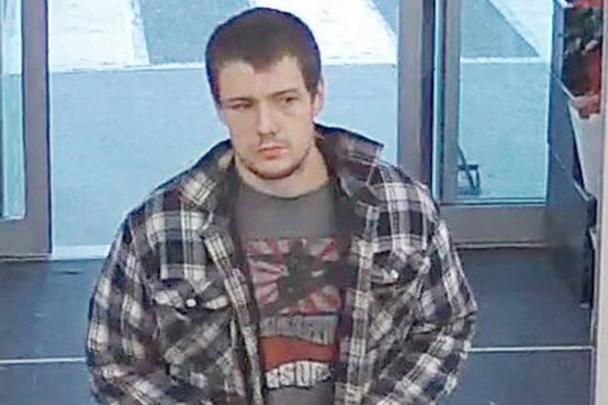 Langley RCMP are looking for this man in relation to the theft of a pair of work boots from the Otter Co-op store on Aug. 26. (Langley RCMP/Special to the Langley Advance Times)