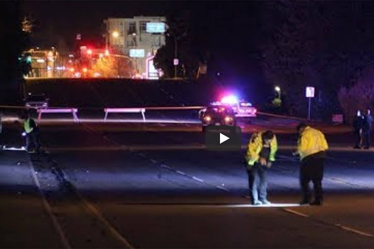 Emergency crews scoured the scene of a fatal pedestrian accident on April 12, 2018 that occurred in the 21800-block of Lougheed Highway in Maple Ridge. More than a year later, a Surrey man was charged. He's since pleaded guilty and has been sentenced. (Special to The News)