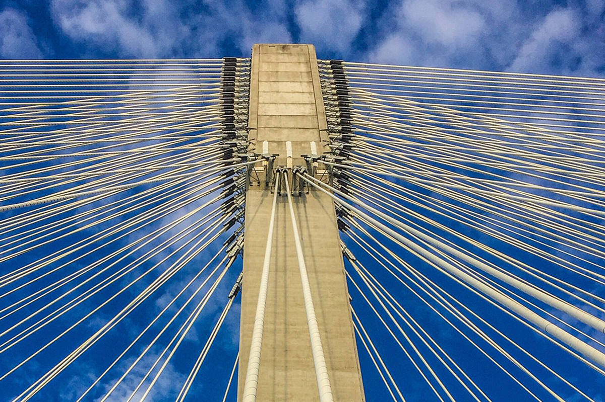 A different perspective of the Golden Ears Bridge, focused on the cable system overhead. (Ron Paley/Special to The News)