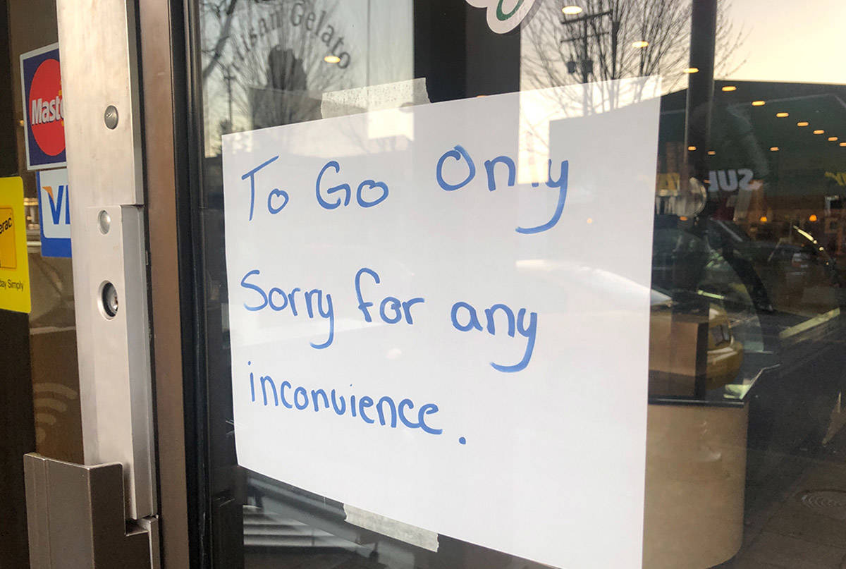 Many restaurants have closed in response to COVID-19. (Ashley Wadhwani/Black Press Media)