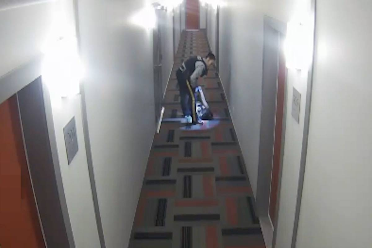Photo taken from a surveillance video being used in a civil suit filed against the Kelowna RCMP.