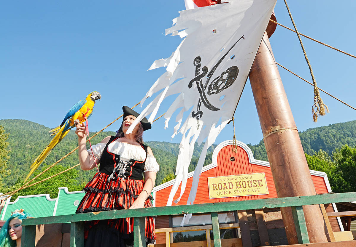 Saturday, Sept. 19, 2020 is International Talk Like a Pirate Day. Pictured here on July 5, 2017 is Jeannie Savard who dressed up like a pirate for her attraction Storybook Adventure in Agassiz, B.C. (Erin Knutson/ The Agassiz-Harrison Observer file)