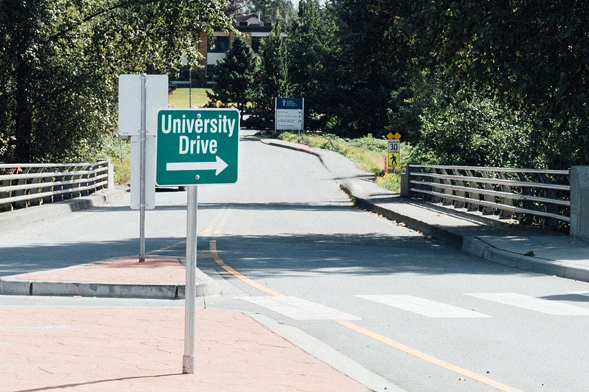 It's no longer 80th Avenue. With the opening of the 216th overpass, the road to TWU has been renamed University Drive. (Special to Langley Advance Times)