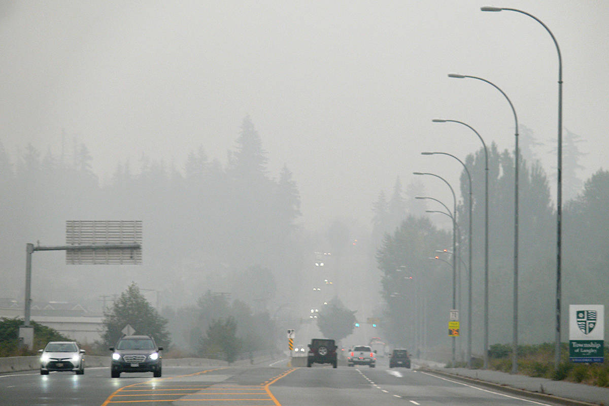 An air quality advisory remained in effect as smoke blanketed Langley and other Lower Mainland and Fraser Valley communities on Sunday, Sept. 13 (Dan Ferguson/Langley Advance Times)