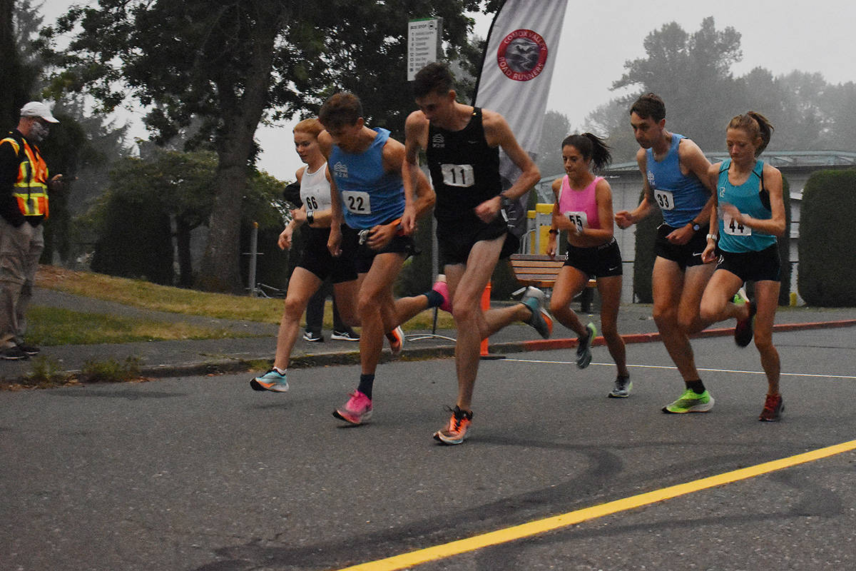 Six members of the BC Endurance Project start the Comox Valley half-marathon course, in an effort to qualify for the Half Marathon World Championships in Poland in October. Photo by Terry Farrell
