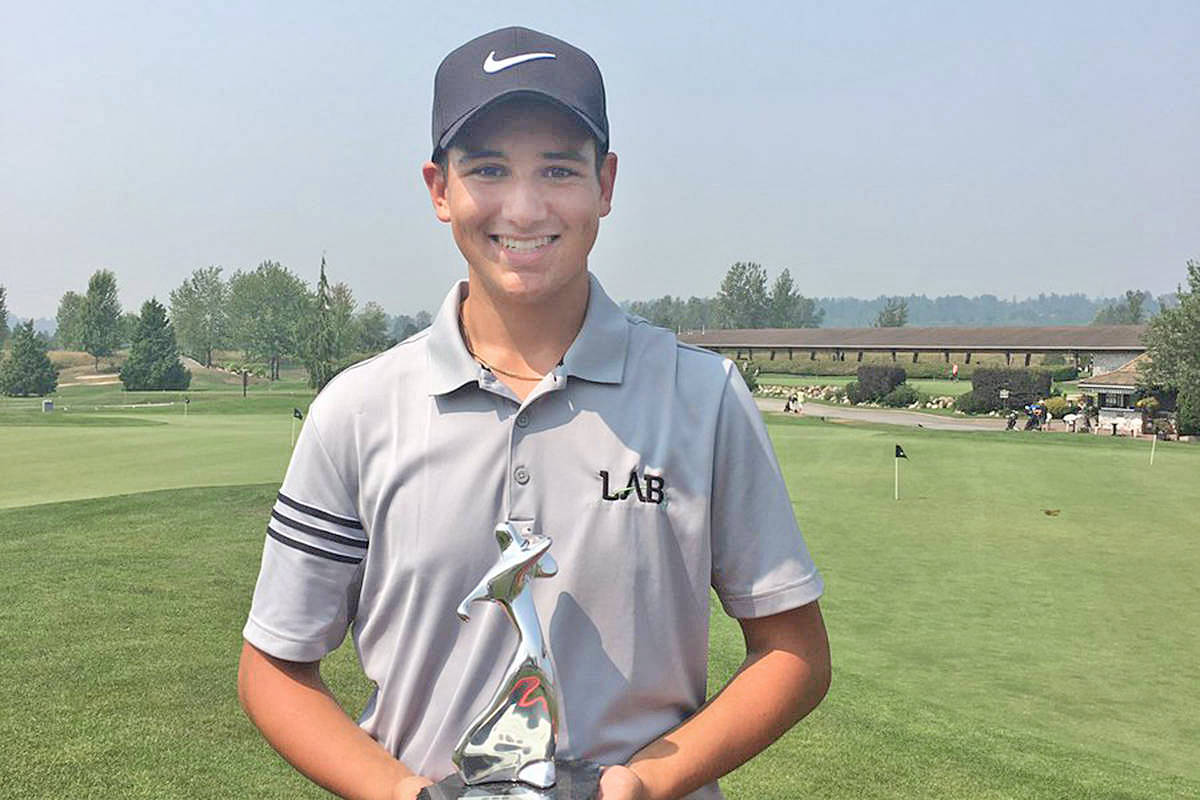Fort Langley's Jackson Jacob with his trophy at the 2017 Maple Leaf Junior Golf Tour Odlum Brown Classic-PGA of BC Junior Championship. Jacob shot 69 in both rounds one and three — plus a 72 — to win the juvenile boys (15 and 16) division by two strokes. (PGA of BC/Special to Langley Advance Times)