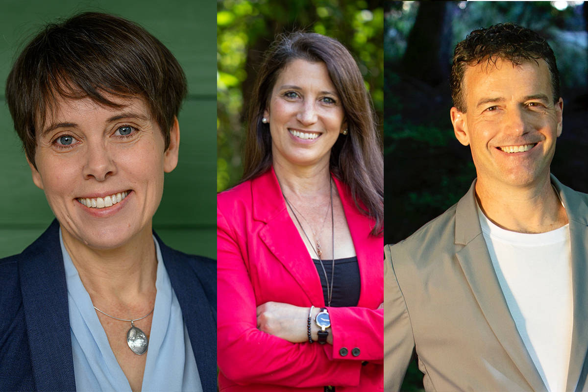 Cowichan Valley MLA Sonia Furstenau, Kim Darwin and Cam Brewer are all fighting to win the BC Greens leadership race. (The Canadian Press, Kim Darwin/Twitter)