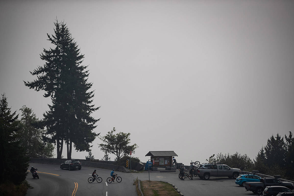 Smoke from wildfires burning in the U.S. obscures the view of downtown Vancouver, at a lookout at Cypress Provincial Park, in West Vancouver, B.C,, on Saturday, September 12, 2020. The World Air Quality Index, a non-profit that tracks air quality from monitoring stations around the world, rated Vancouver's air quality as the second worst in the world Saturday. Environment Canada has issued a special air quality statement for Metro Vancouver, showing a very high risk to health due to wildfire smoke from Washington and Oregon. THE CANADIAN PRESS/Darryl Dyck