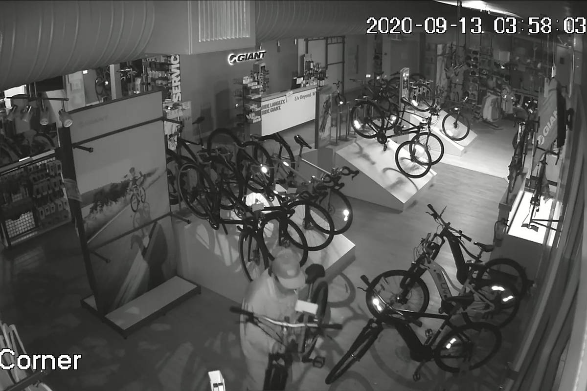 A thief made away with $20,000 of merchandise from Giant Langley on Sunday, Sept. 13, 2020 after stealing four bikes from the local shop. Langley RCMP are investigating the break-in. (Giant Langley photo)