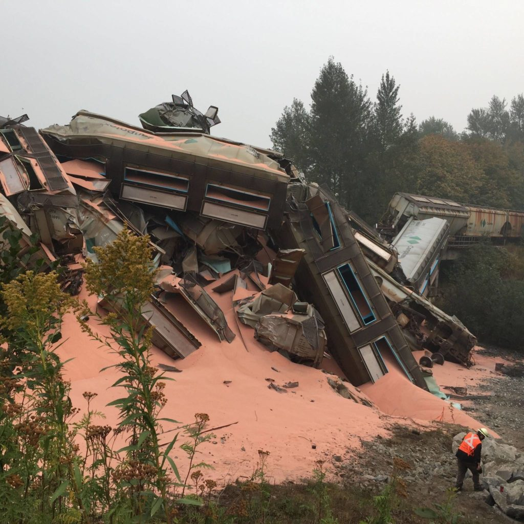 Crews are working to clean up a CN Rail derailment near Hope involving 20 rail cars carrying potash. (Emelie Peacock/Hope Standard)