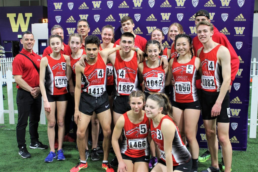 Langley Mustangs athletes had a good showing at the indoor University of Washington high school invitational track meet in Seattle in February. It was the only meet the club attended before the pandemic shut down athletic competition (Special to Langley Advance Times)