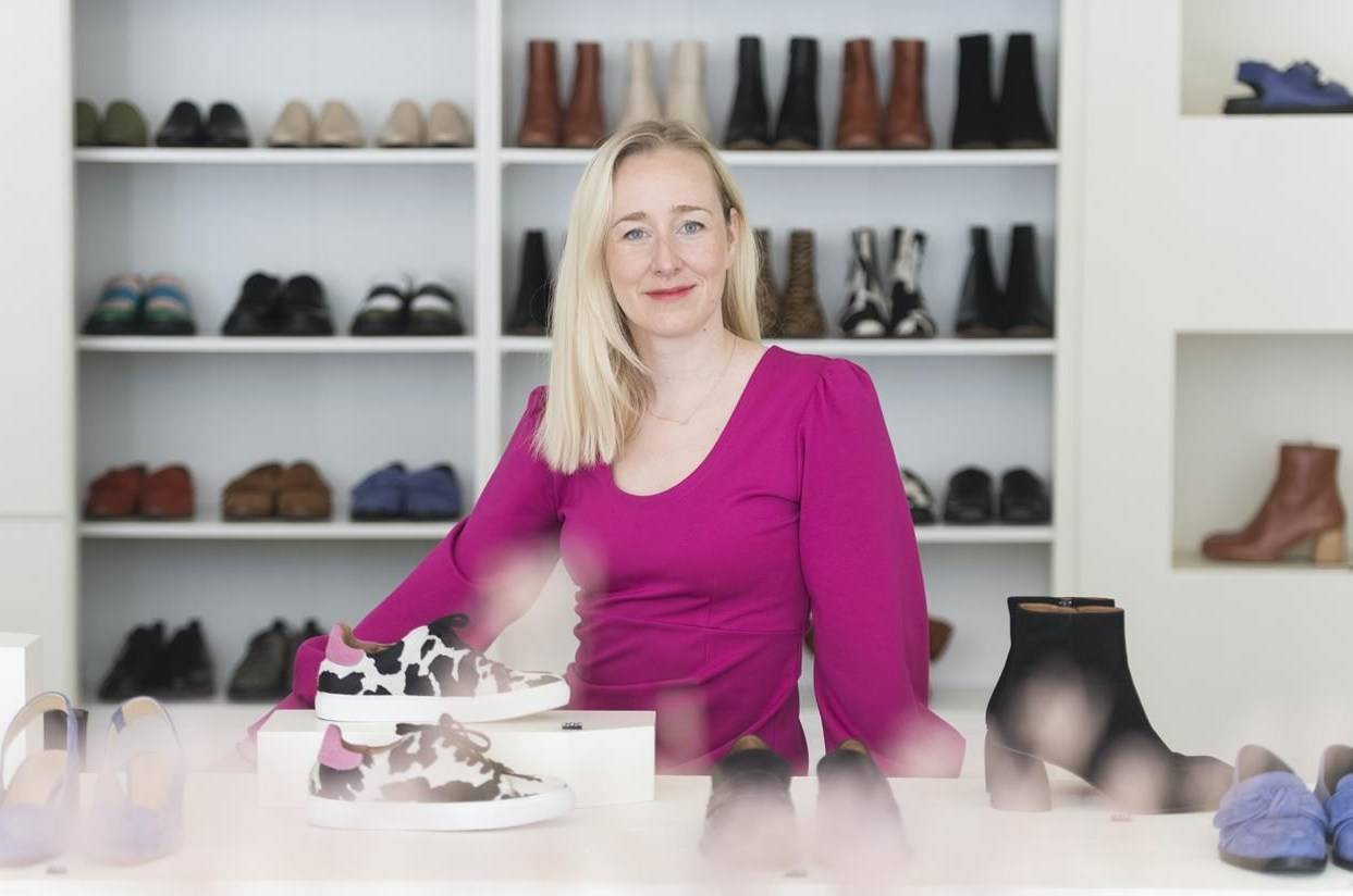 Myriam Maguire, co-owner and co-founder of Maguire Boutique poses at her store in Montreal, Saturday, Sept. 5, 2020. When Myriam Maguire sits down to design footwear for her fashion boutiques in Montreal and Toronto, glamour and special occasions are often on her mind. But in the COVID-19 era, no one's looking for high heels to adorn the perfect gala look or a formal, statement shoe to wear to a wedding or an important day at the office. THE CANADIAN PRESS/Graham Hughes