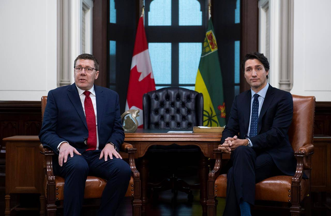 Prime Minister Justin Trudeau meets with Premier of Saskatchewan Scott Moe in his office on Parliament Hill in Ottawa, Tuesday, Nov. 12, 2019. Saskatchewan Premier Scott Moe says he wants to hear the federal government make a commitment to the oil and gas industry in next week's throne speech. THE CANADIAN PRESS/Justin Tang