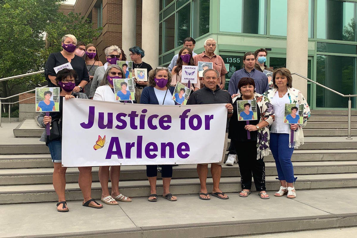The family of the late Arlene Westervelt stands together in front of the Kelowna Law Courts on Sept. 14 to demand justice and answers as to why the BC Crown Prosecution Service has decided to stay the proceedings against Lambertus (Bert) Westervelt for the alleged murder of his wife Arlene. (Daniel Taylor - Black Press Media)