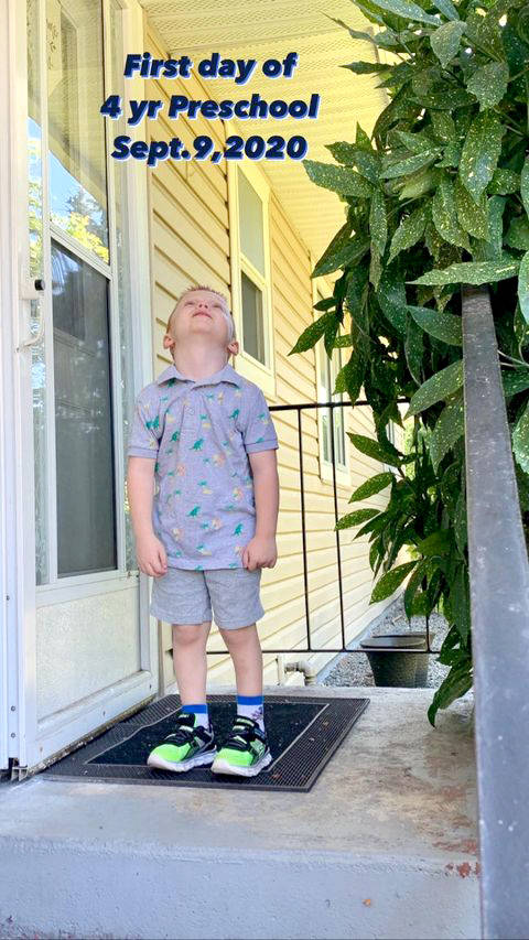 Four-year-old Raymond begrudgingly began pre-school. (Tracy Roper/Special to the Langley Advance Times).