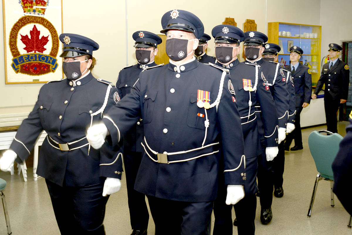 The Township of Langley Fire Department Honour Guard escorts Firefighters Jon Dvorak and Matt Szydlowski out of the ceremony where they were presented their IAFF4550 Township of Langley fire badges at the Aldergrove Legion. (Jhim Burwell/Special to The Star)