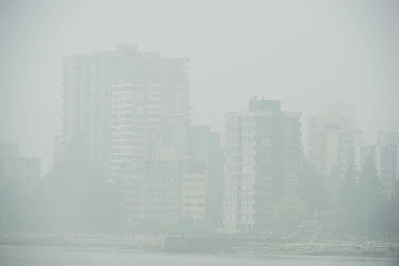 Buildings in West Vancouver, B.C., are obscured due to the heavy smoke in the air Monday, Sept. 14, 2020. Heavy smoke and poor air quality have been caused due to the wildfires burning south of the border. THE CANADIAN PRESS/Jonathan Hayward