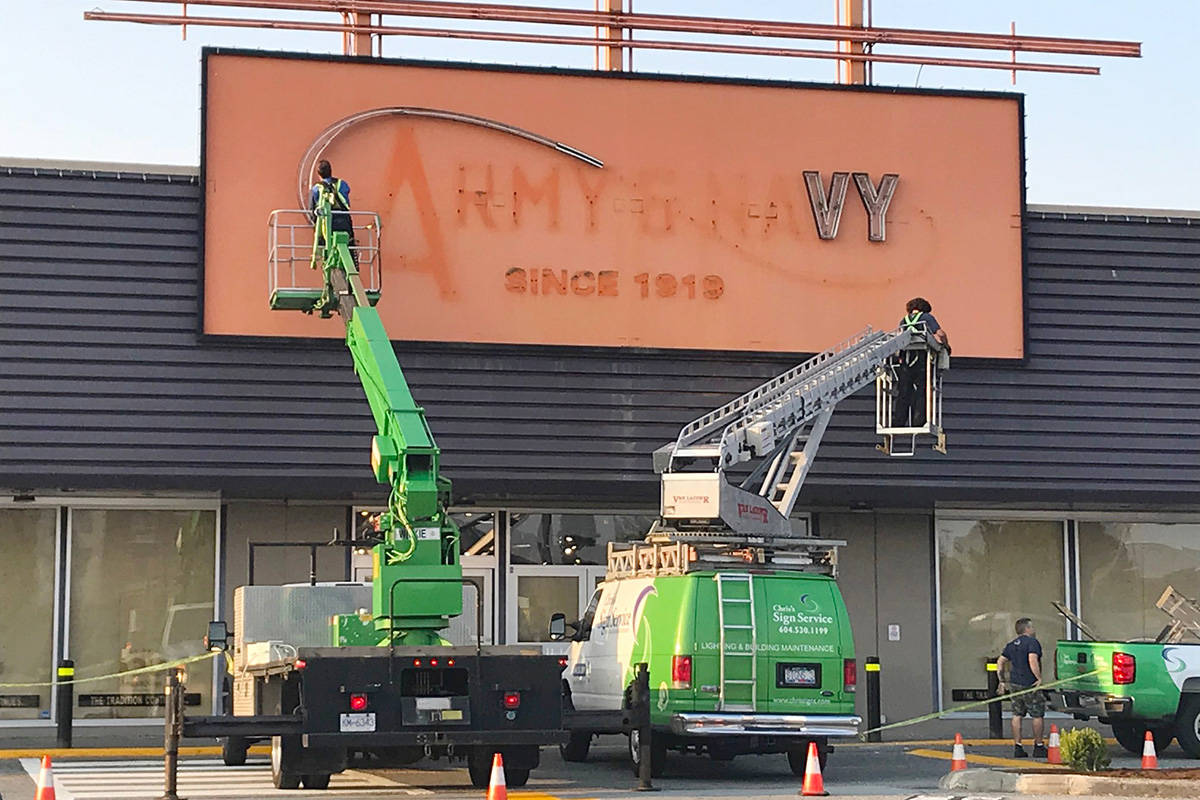 Army & Navy was in business for more than a century but closed earlier this year, citing COVID-19 as the cause. The space at Langley Mall has been taken over by McFrugal's Discount Outlet. (Lisa Farquharson/Black Press Media)