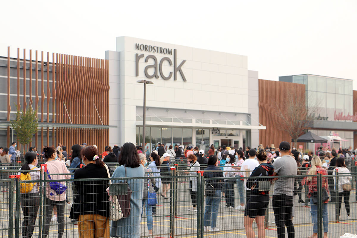 Over 350 customers were waiting in line before Nordstrom Rack officially opened its doors Thursday, Sept. 17, 2020. The first customer lined-up at 3 a.m. (Joti Grewal/Langley Advance Times)
