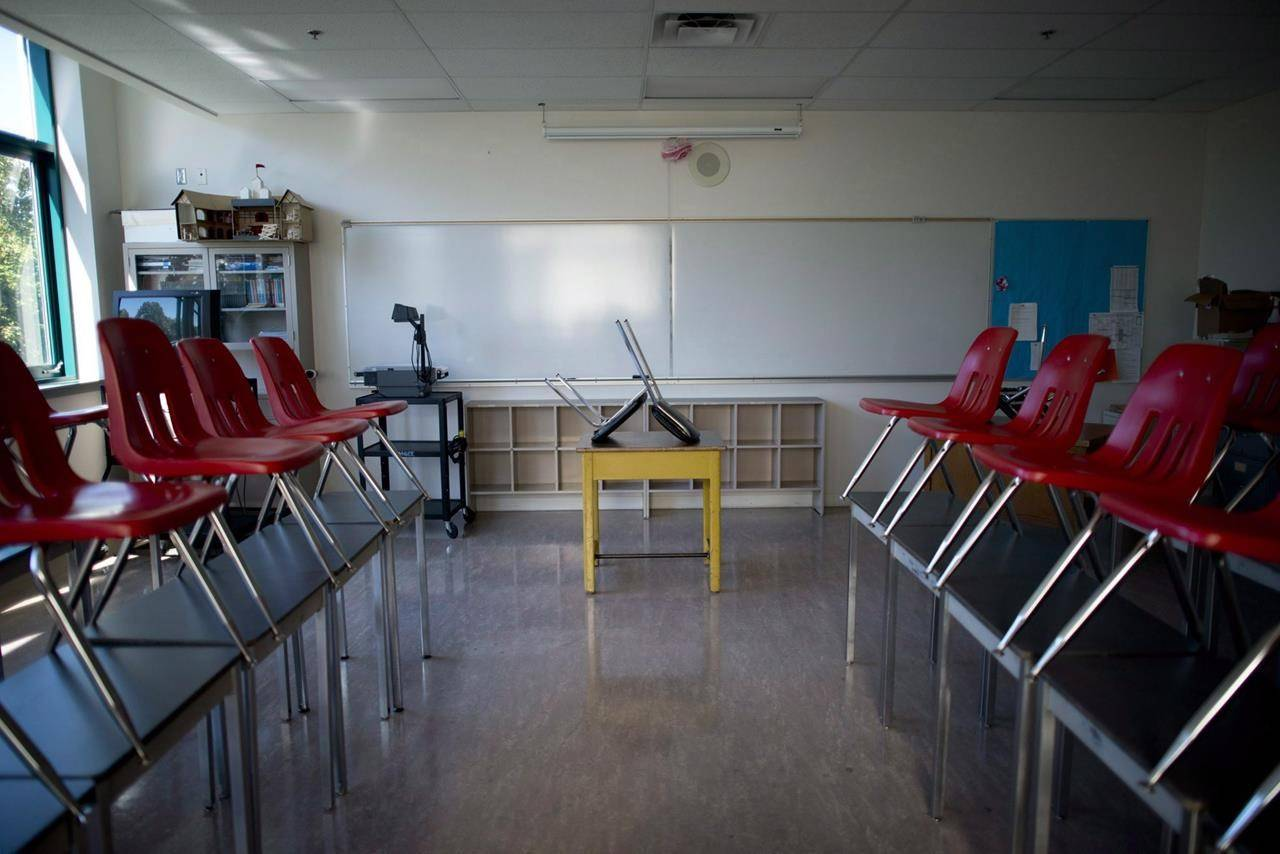 FILE – A empty classroom is pictured at McGee Secondary school in Vancouver, B.C. Friday, Sept. 5, 2014. THE CANADIAN PRESS/Jonathan Hayward