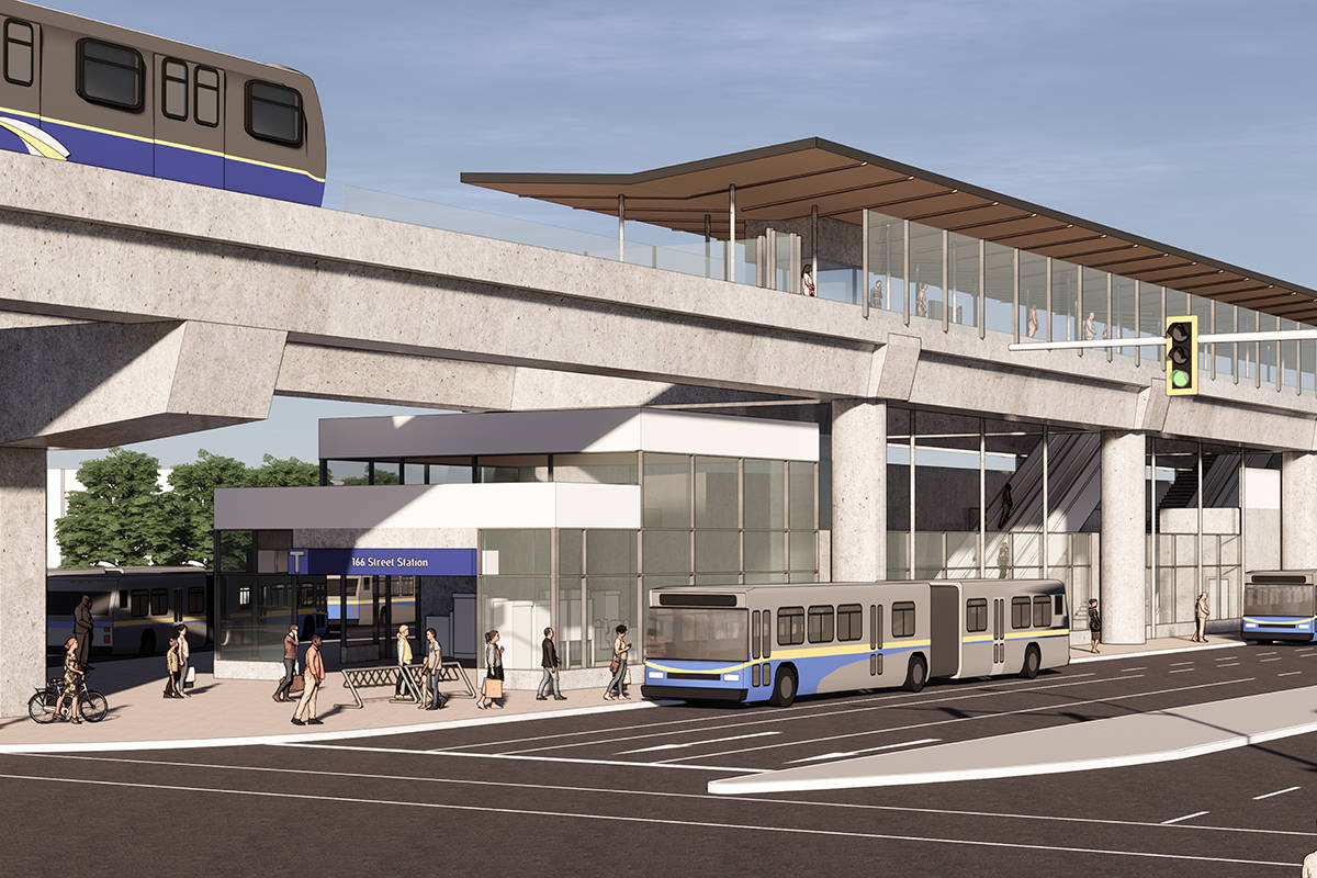 Artist rendering of the Surrey-Langley skytrain station at 166 Street. (Translink/Special to The Star)