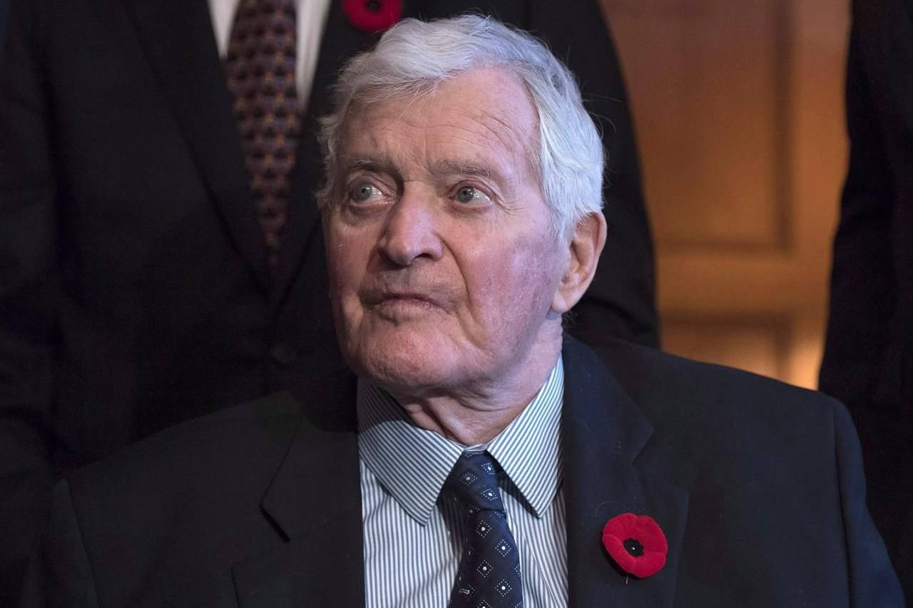 Former prime minister John Turner looks on during a photo op to mark the 150th anniversary of the first meeting of the first Parliament of Canada, in Ottawa on Monday, Nov. 6, 2017. THE CANADIAN PRESS/Justin Tang
