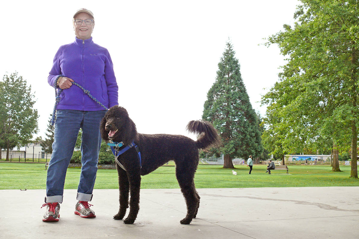 Langley City resident Lois Macleay and her dog Georgie held their own solitary Terry Fox Walk on Sunday, Sept. 20, 2020, starting from Douglas Park (Dan Ferguson/Langley Advance Times)