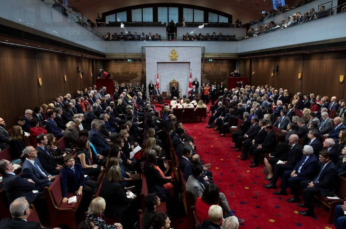 Governor General Julie Payette delivers the most recent throne speech in the Senate chamber in Ottawa, in pre-pandemic times, Dec. 5, 2019. THE CANADIAN PRESS/Sean Kilpatrick