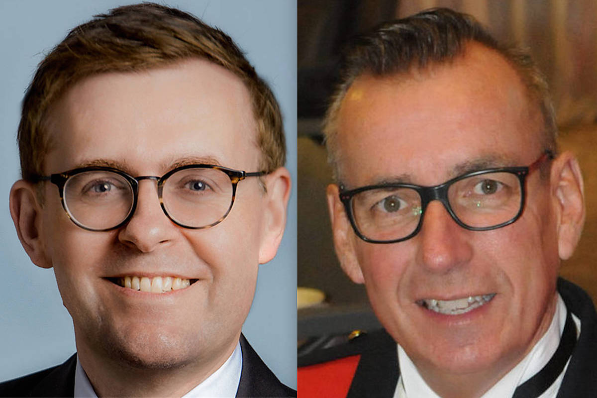 Township Councillor Eric Woodward (left) told the Sept. 21, 2020 meeting of council it is time to look into the cost of having a Township-only RCMP detachment, after the current officer in charge of the shared police force, Supt. Murray Power (right) was reassigned in the wake of a Langley City controversy. (file)