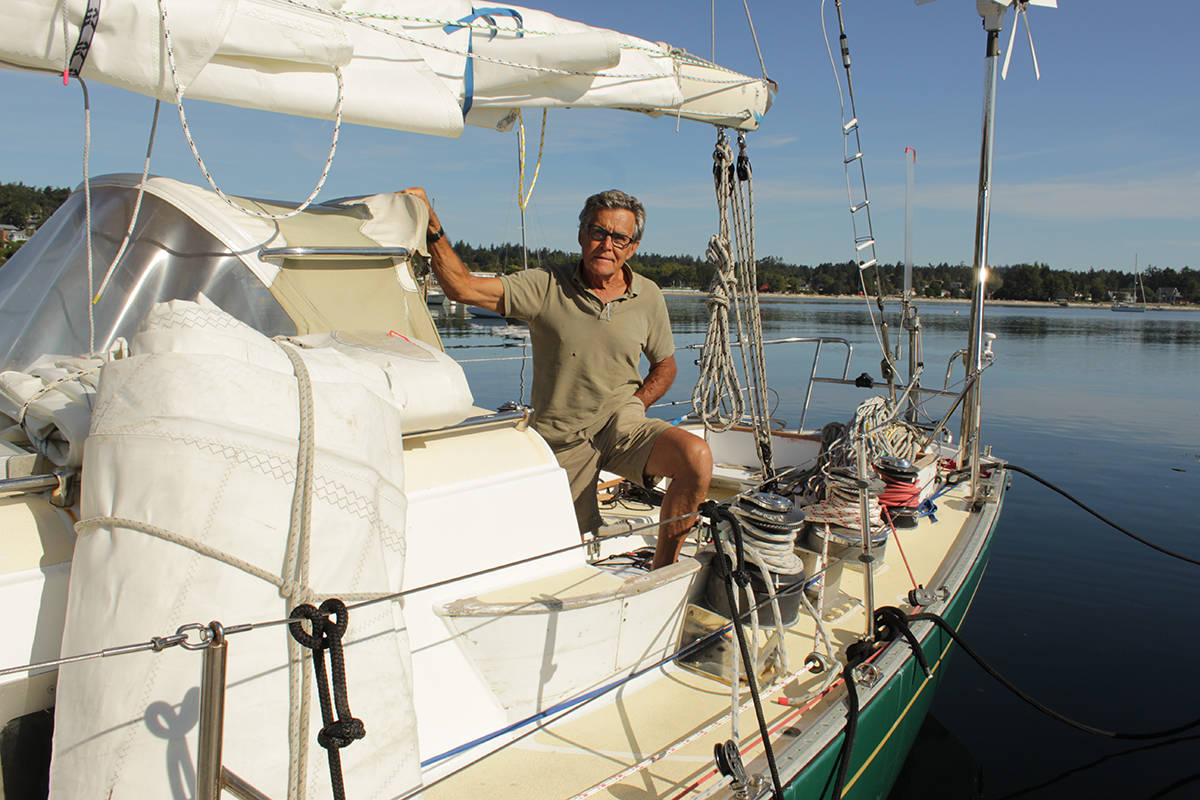 Glenn Wakefield on his sailboat, West Wind II, at the Royal Victoria Yacht Club prior to launching for Cape Horn on Sept. 6. (Travis Paterson/News Staff)