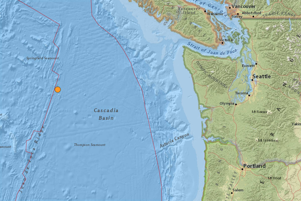 A 4.1 magnitude earthquake hit off the coast of Washington on Tuesday afternoon. (United States Geological Survey's website)