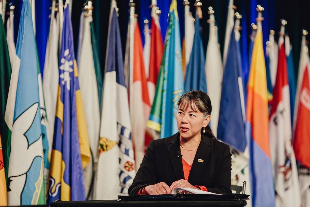 Sooke Mayor Maja Tait, outgoing president of the Union of B.C. Municipalities, speaks to the video-conference session on member resolutions for the provincial government, Victoria, Sept. 23, 2020. (UBCM)