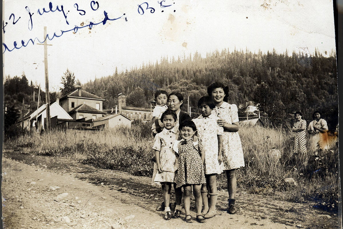 "The Murakami Family in Greenwood in BC's Interior: (MURAKAMI, KIMIKO, RICHARD, MARY, ROSE, VIOLET AND ALICE) (This archival photo is featured in the ""Broken Promises"" exhibit opening at the NNMCC on Sept. 26, 2020) 2004-005-038. Image courtesy of Salt Spring Island Archives."