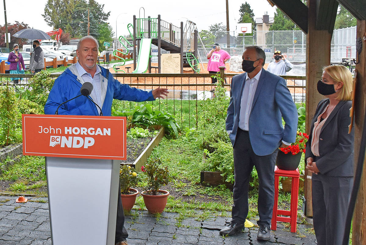 BCNDP Leader John Horgan with candidates for Maple Ridge-Mission Bob D'Eith and Maple Ridge-Pitt Meadows Lisa Beare in Maple Ridge on Tuesday morning for a child care announcement. (Neil Corbett/Maple Ridge News)