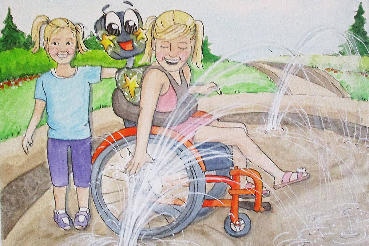 A drawing by Leanne Bowlan in author Marlene Bryenton's next storybook, Jaya's Magic Wheelchair. (submitted image)
