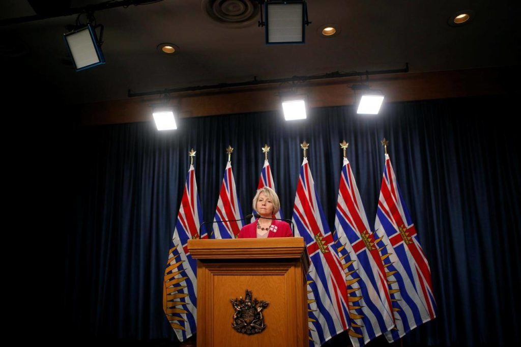 Provincial Health Officer Dr. Bonnie Henry is shown during a press conference at the B.C. legislature in Victoria, B.C., on Tuesday, September 22, 2020. British Columbia's top doctor is thanking supporters after revealing she has faced abuse and death threats related to her public health orders during the COVID-19 pandemic. THE CANADIAN PRESS/Chad Hipolito