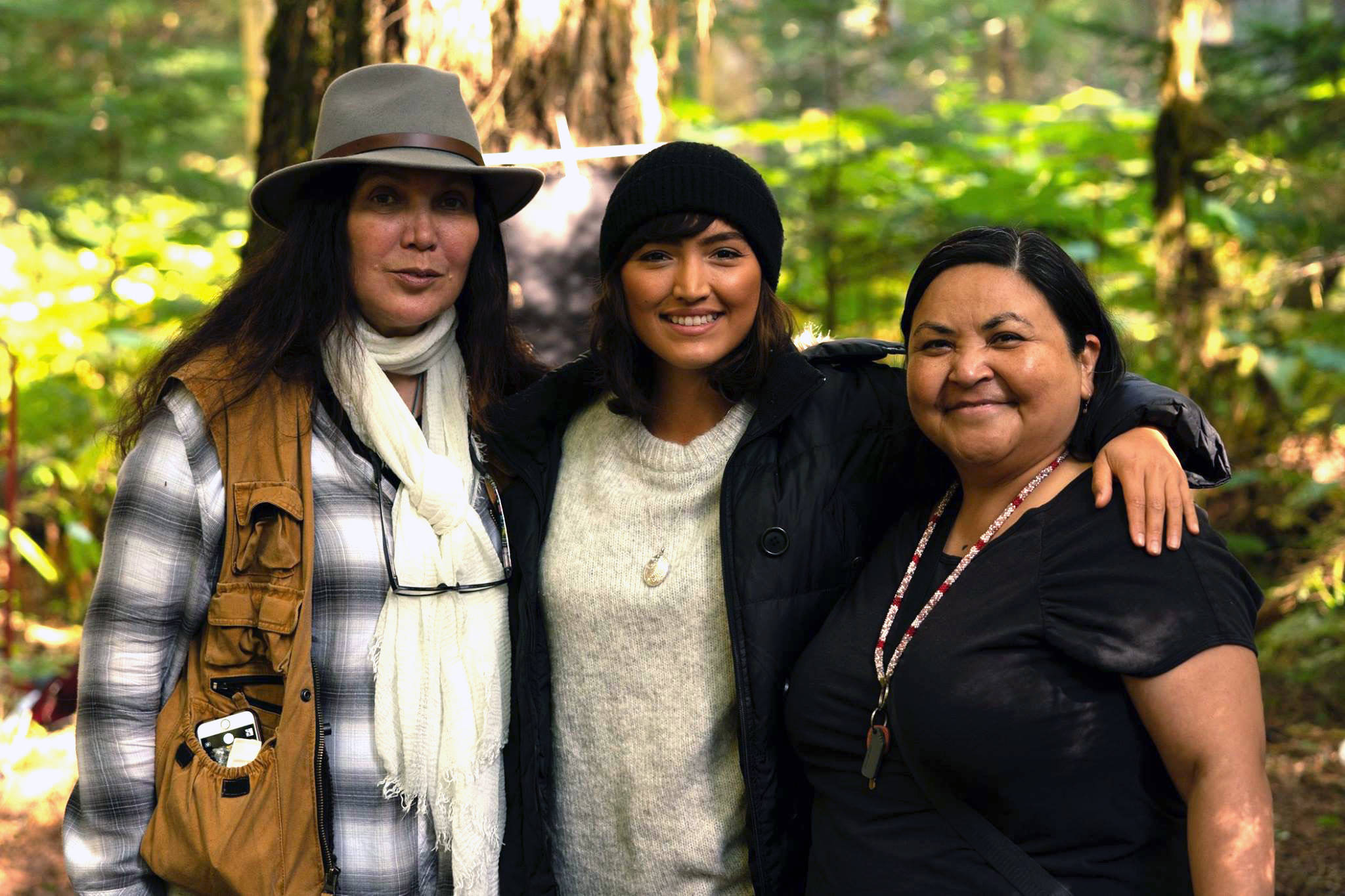 Director Loretta Sarah Todd, lead actress Grace Dove, and author Eden Robinson (L-R) behind the scenes. (VIFF Media)