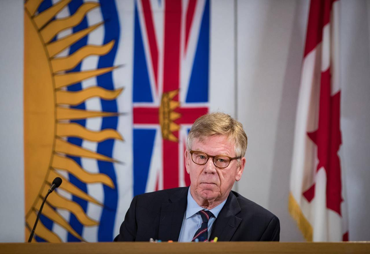 Commissioner Austin Cullen listens to introductions before opening statements at the Cullen Commission of Inquiry into Money Laundering in British Columbia, in Vancouver, on Monday, February 24, 2020. The head of B.C.'s money laundering inquiry has delayed the resumption of the hearings because of the B.C. election. THE CANADIAN PRESS/Darryl Dyck