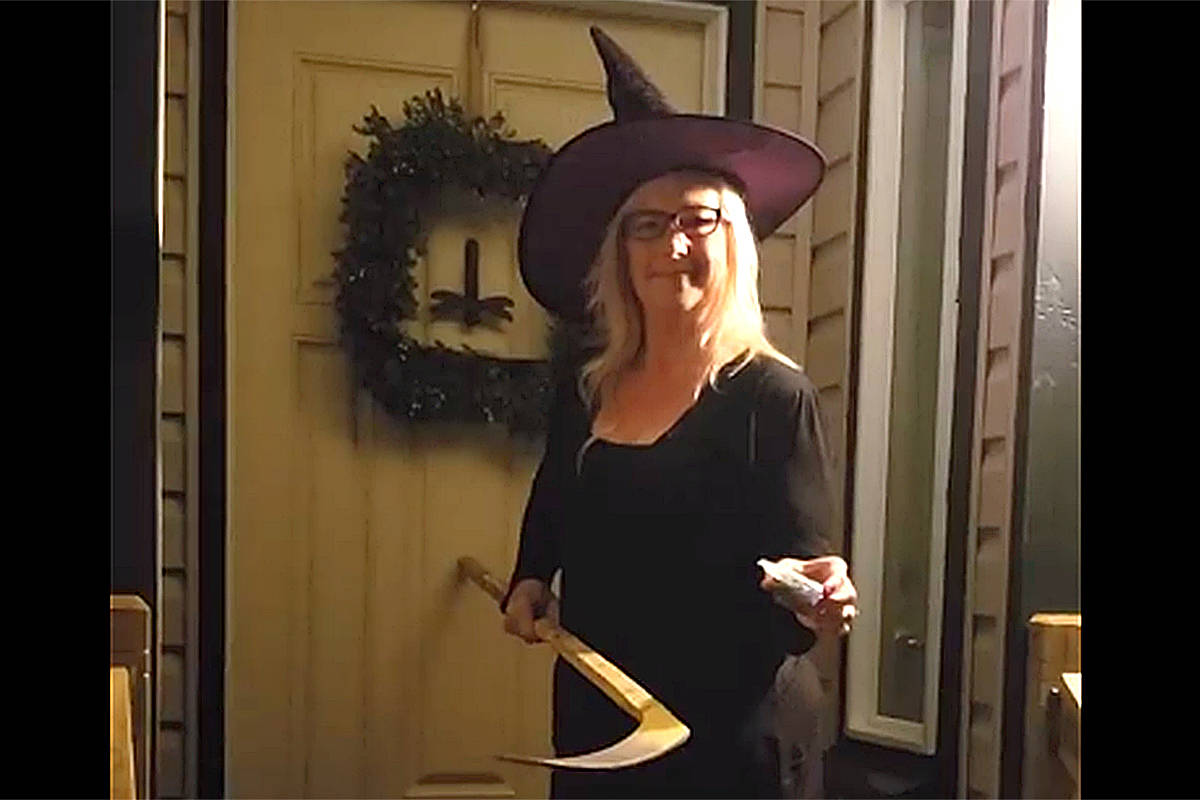 Halloween is too important an event to be cancelled because of COVID, says Langley's Tanya Reid, who's created a video to encourage safe ways of enjoying the festivities. (Facebook screengrab)