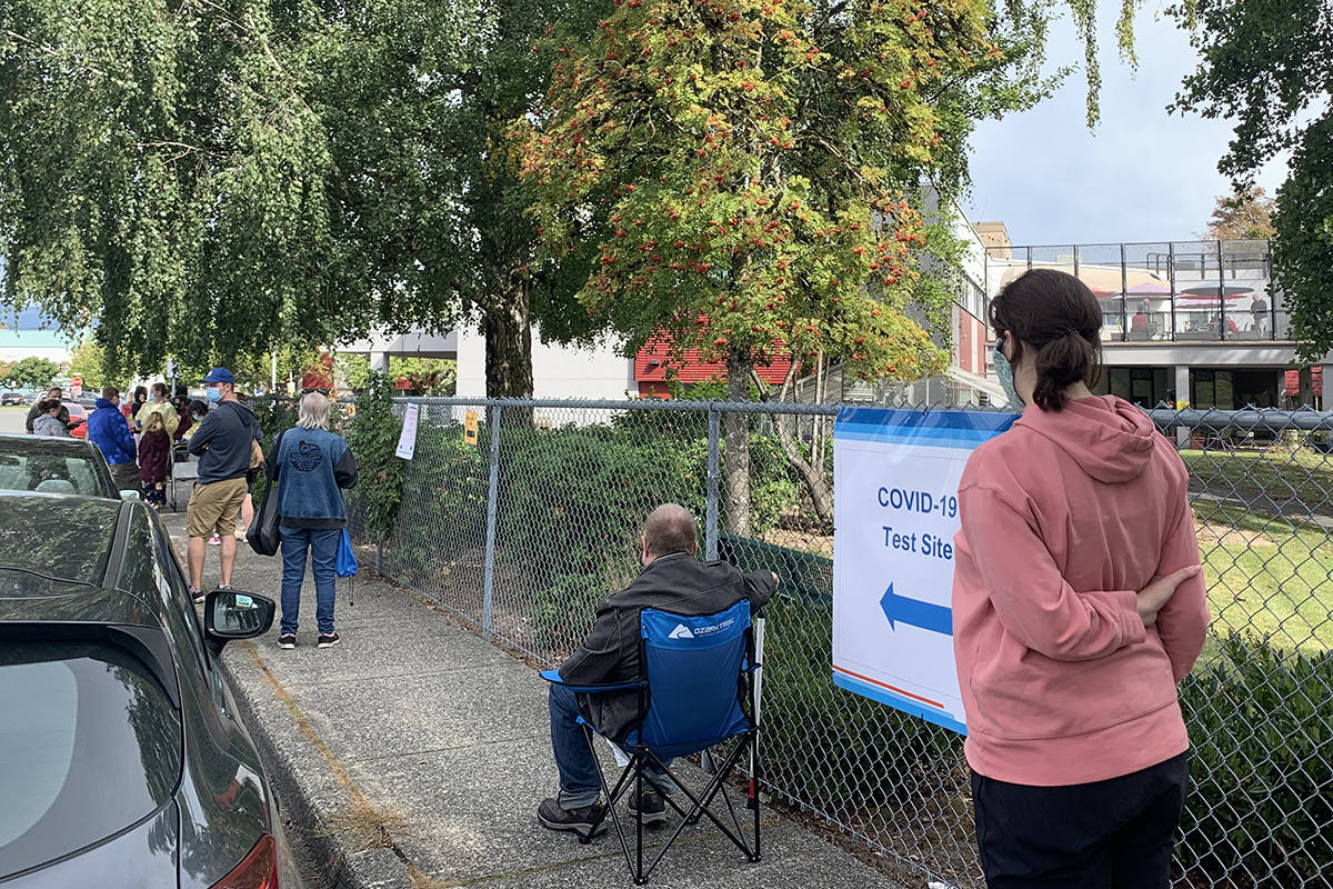 The COVID-19 testing site in Chilliwack was seeing an obvious surge in demand on Monday morning (Sept. 21, 2020) with a lineup that wrapped around the block. (Jessica Peters/ The Progress file)