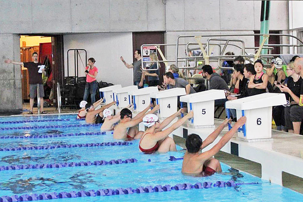 Swimmers from the Langley and Abbotsford Olympians swim clubs lined up at the start line in Walnut Grove pool before a race in January, 2019 (File photo by Kieran O'Connor/Black Press Media)