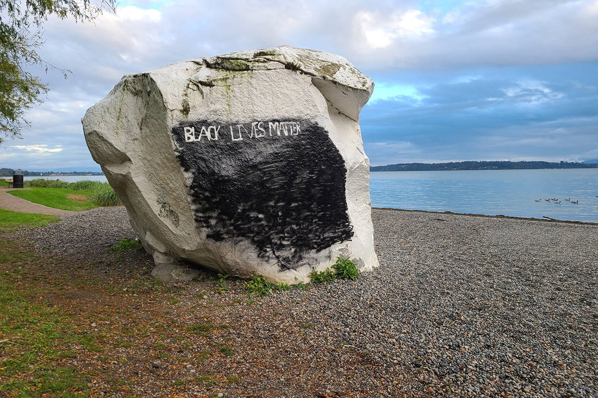 Someone vandalized the white rock by spray painting it black this weekend. (Aaron Hinks photo)