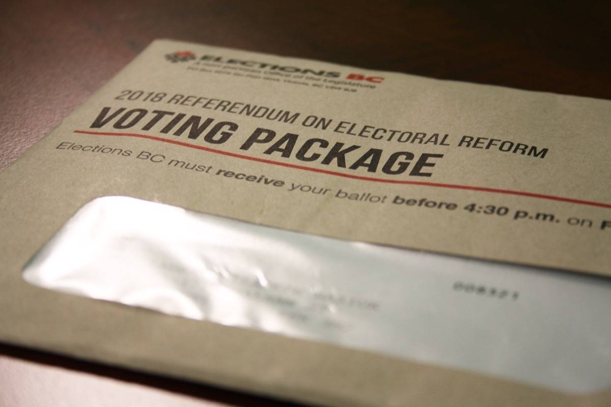 FILE – A voting package for the 2018 electoral reform referendum. Vote-by-mail packages for the 2020 provincial election will look similar, according to information provided by Elections BC. (Katya Slepian/Black Press Media)