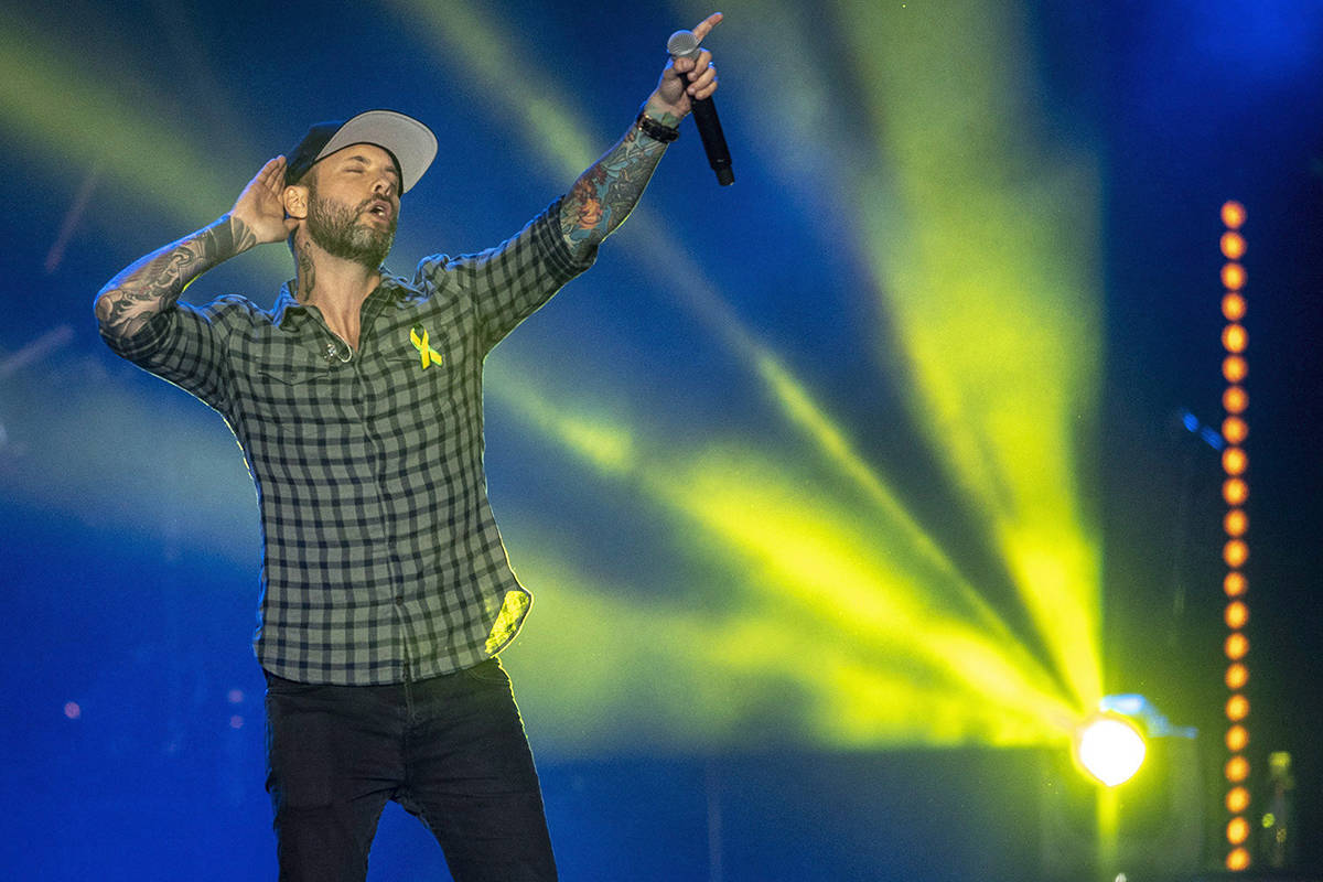 FILE – Dallas Smith performs during the Country Thunder Humboldt Broncos tribute concert in Saskatoon, Sask. Friday, April 27, 2018. THE CANADIAN PRESS/Liam Richards