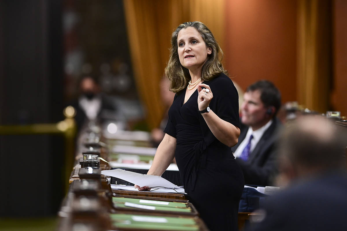 Minister of Finance Chrystia Freeland stands during question period in the House of Commons on Parliament Hill in Ottawa on Monday, Sept. 28, 2020. THE CANADIAN PRESS/Sean Kilpatrick